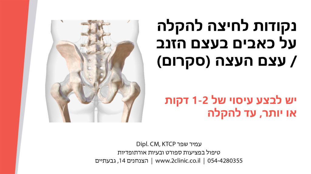 כאבים בעצם הזנב או בסקרום (אגן) – נקודות לחיצה להקלה מיידית